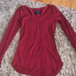 A long sleeve red size xs shirt